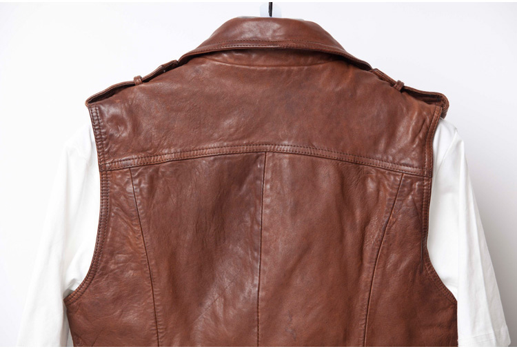 P18E092BE women casual cool fashion classic genuine sheepskin leather motorcycle biker vest with snap button