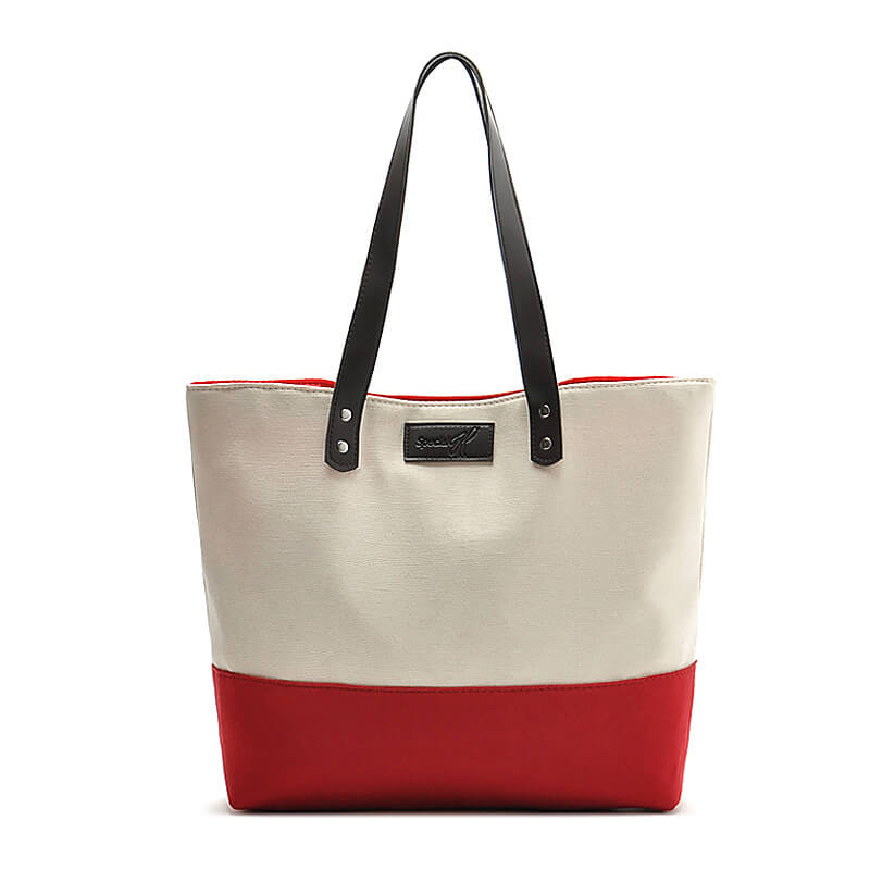 Heavy Duty Gusseted Stripe Canvas Tote with PU Handles