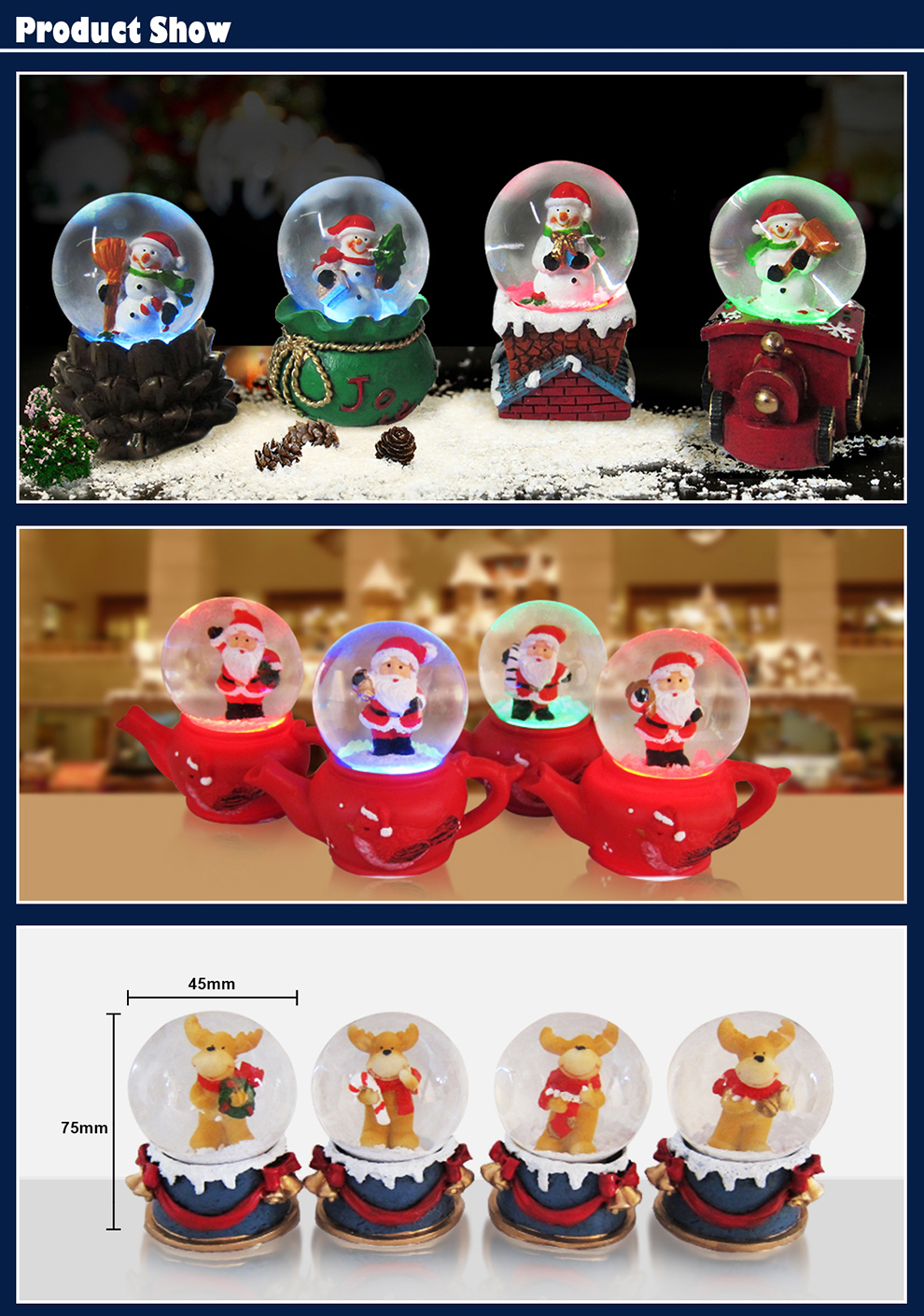 Christams Snow Globe With LED Lights Home Promotion Gifts Polyresin Crafts Snow Globe