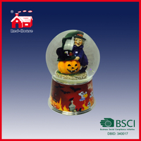 Holiday Decortaion Halloween Water Globe Witch Pumpkin Glass Snow Globe with Music Party Decoration