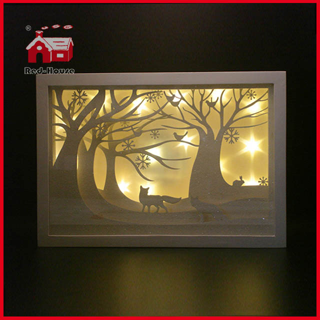 Glass Frame Forest Scene Glass Decoration with Plastic Frame Shadow Box Frames LED Frame Decoration