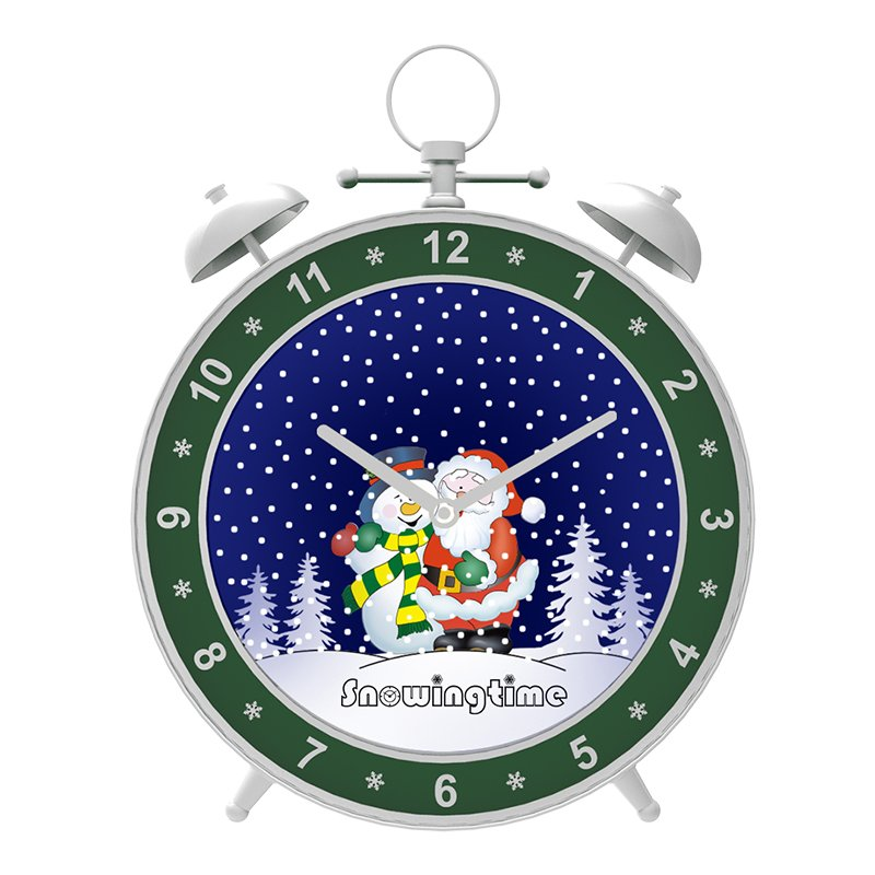 Alarm Clock Shaped Ornament Snowing Christmas Decoration