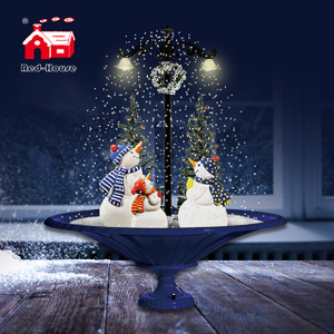 (GP075-3S-B) Christmas Lights Snowing Street Lamp with Figures on Tray-shaped Base for Holiday Decor