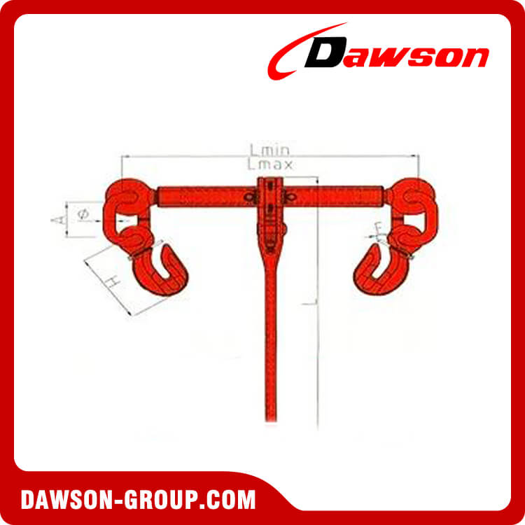 G100 RATCHET LOAD BINDER WITH EYE SHORTENING GRAB HOOKS DAWSON CHINA