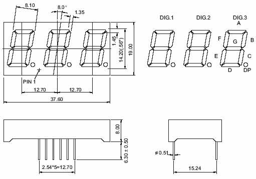 0 56 inch 3 digit 7 segment led display