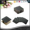 PU leather black square cup glass coasters