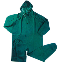 green pvc/polyester/pvc coverall style raincoats