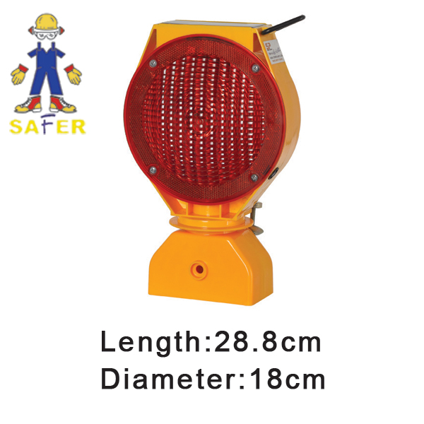 yellow solar flashing warning light