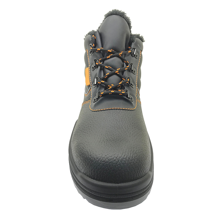ENS003 steel toe fur lining leather winter safety boots