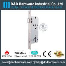 Aço inoxidável 304 Europeu Mortise Fire Rated Door Lock para Porta De Metal Comercial com CE-DDML026