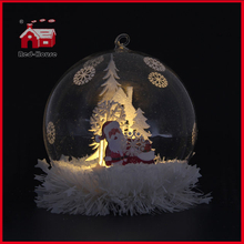 LED Glass Balloon Decoration Santa Claus Inside Glass Made Christmas Decoration Glass Giftware