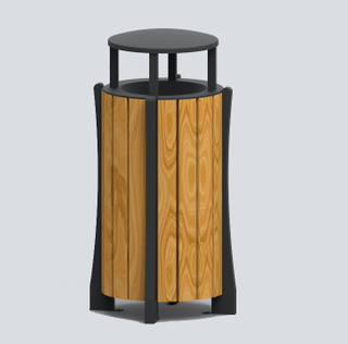 Fashionable Outdoor waste can with plastic wood HW-517