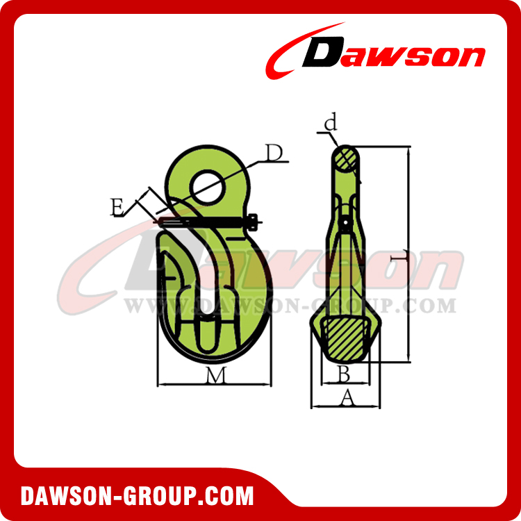 DS1023 G100 Special Eye Grab Hook with Safety Pin - Dawson Group Ltd. - China Manufacturer, Supplier, Factory