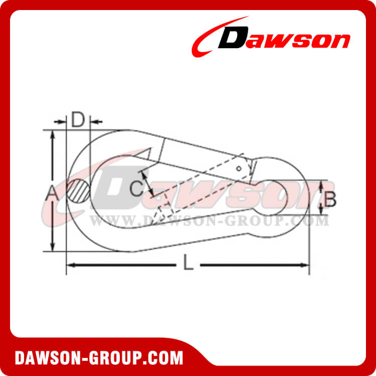 SNAP HOOK + DIN5299C + ZINC PLATED DAWSON-GROUP