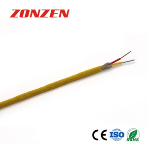FEP insulated thermocouple extension wire with stainless steel inner shield--Single pair, flat
