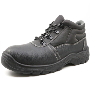 Black Leather Steel ToeCap Construction Site Safety Shoes for Men Work
