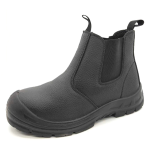 Black Leather Puncture Proof Steel Toe Cap Safety Shoes without Laces