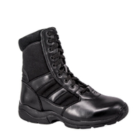 full grain leather police tactical boot with side zipper