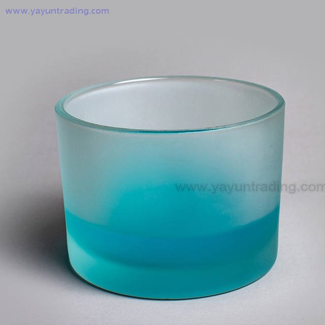 wholesale sandblasted white glass candle holder glass tumbler with flat bottom