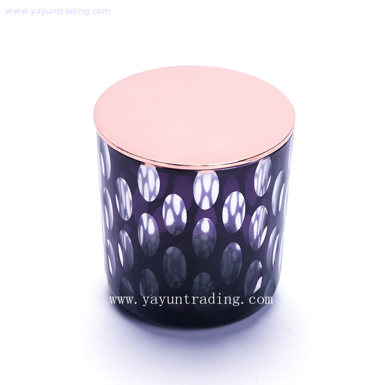 hand cut curved bottom glass candle holder with purple color