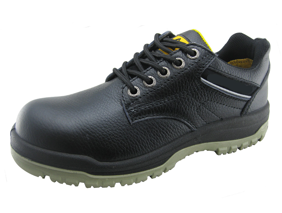 Genuine leather PU injection construction worker safety shoes