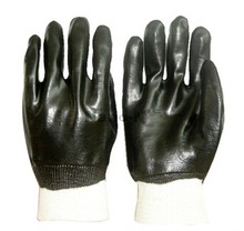 Knit wrist black PVC gloves