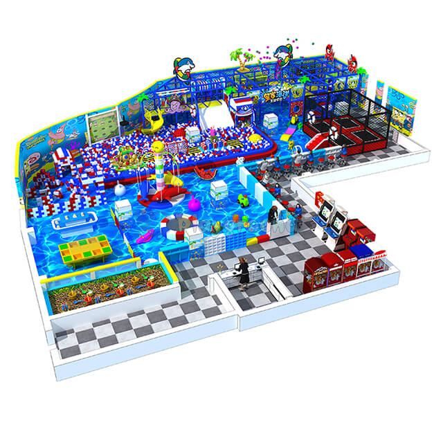 Ocean Theme Large Entertainment Play Equipment Kids Indoor Playground