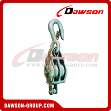 DS-B011 Malleable Iron Shell Block For Manila Rope Double Sheave With Loose Hook