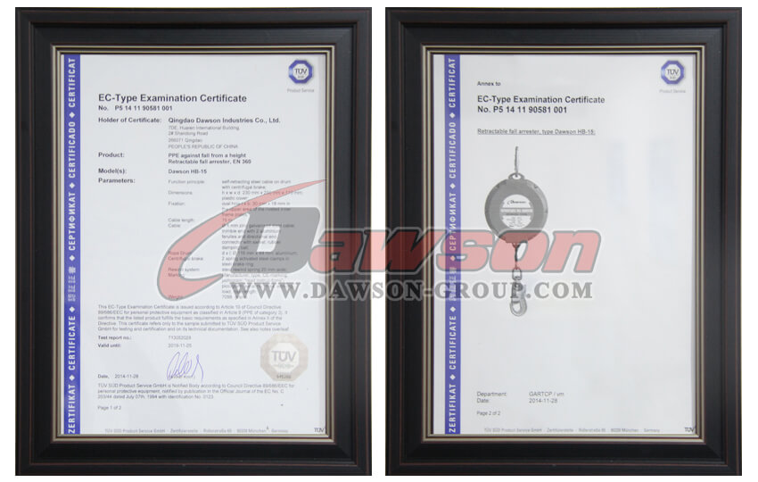 EC-Type Examimation Certificate of Galvanized Wire Safety Self Retractable Lifeline - China Supplier