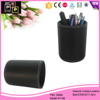 Black pu leather hand made desk top round tube pen holder