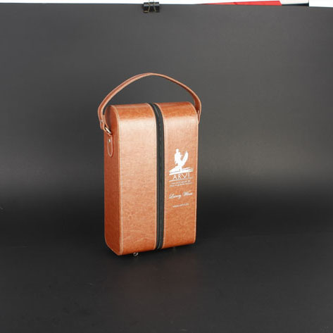Wine Box Manufacturer Brown Zipper 2 bottle leather wine carrier