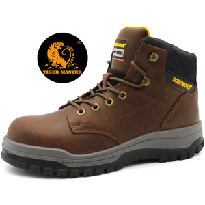 Anti Slip Brown Leather Puncture Proof CAT Mining Safety Boots Steel Toe