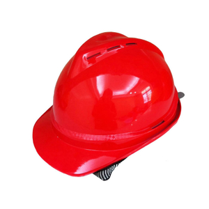 Red ABS V Type Ventilation Holes Breathable Construction Site Engineers Safety Helmet