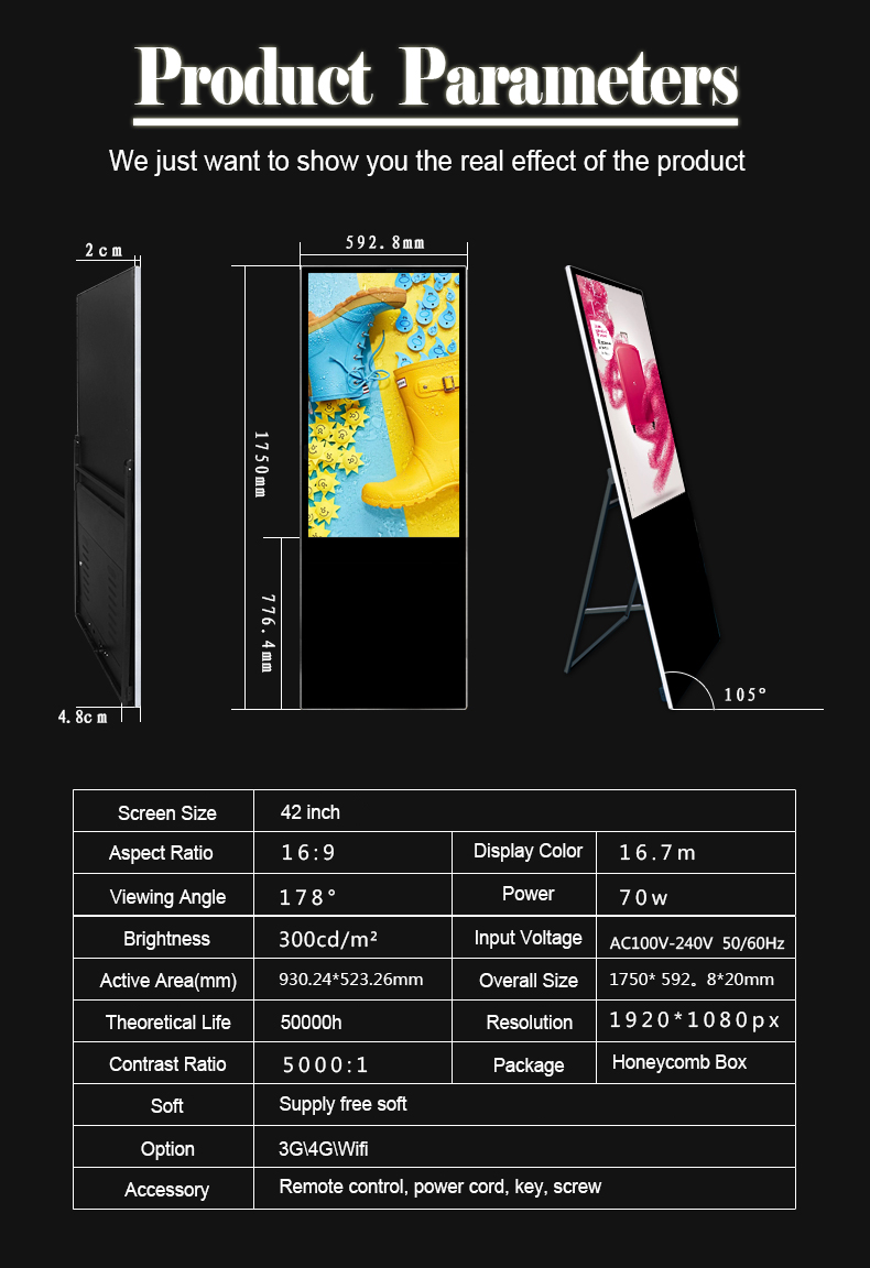 Ultrathin Portable Digital Poster LCD Display Ads Media (6)