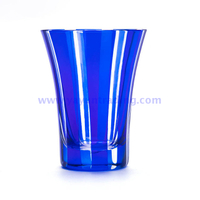 8.7oz handmade exquisite classical blue glass cup for drinking water wine and juice