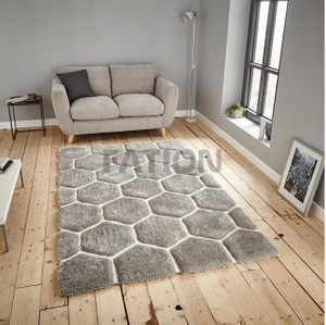 Contemporary Grey Cozy Shag Carpet 3D Effect Area Rugs