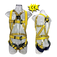 Yellow Polyester Webbing Anti-falling Protection Safety Belt Full Body Harness CE EN361
