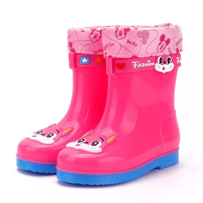 585-P kids keep warm winter rain boots with fur lining