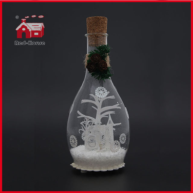 Glass Giftware Christmas Decoration LED Glass Bottle Decoration Christmas Tree Santa Inside