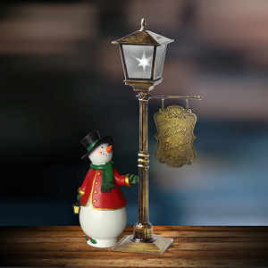 magic light with snowman mini street post light