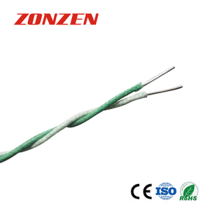 Fiberglass insulated twisted pair thermocouple wire and thermocouple extension wire