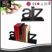 Black A and Z pu leather hand made luxury bookends