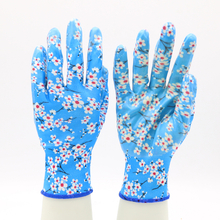 Blue Polyester Liner Fashionable Waterproof Nitrile Floral Gardening Gloves Ladies