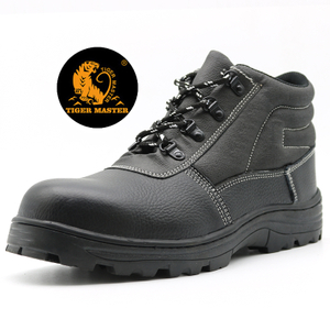 Oil Acid Resistant Genuine Leather Mining Safety Shoes Steel Toe