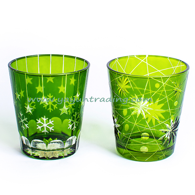 modern fashion hand etched green glass candle jar