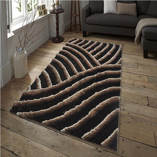 Fashion Brown Thick Shag Rug 3D Effect Carpet