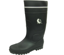 Heavy duty black safety pvc rain boots with reflective stripe