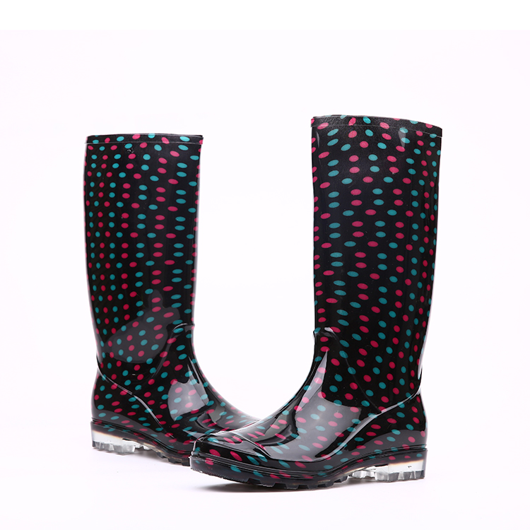 waterproof black shiny pvc rain boots for lady