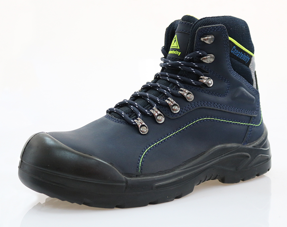 Blue cow split nubuck leather safety boots for men