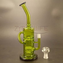 Green Glass Smoking Pipe of Filter to Recover Tobacco Pipe